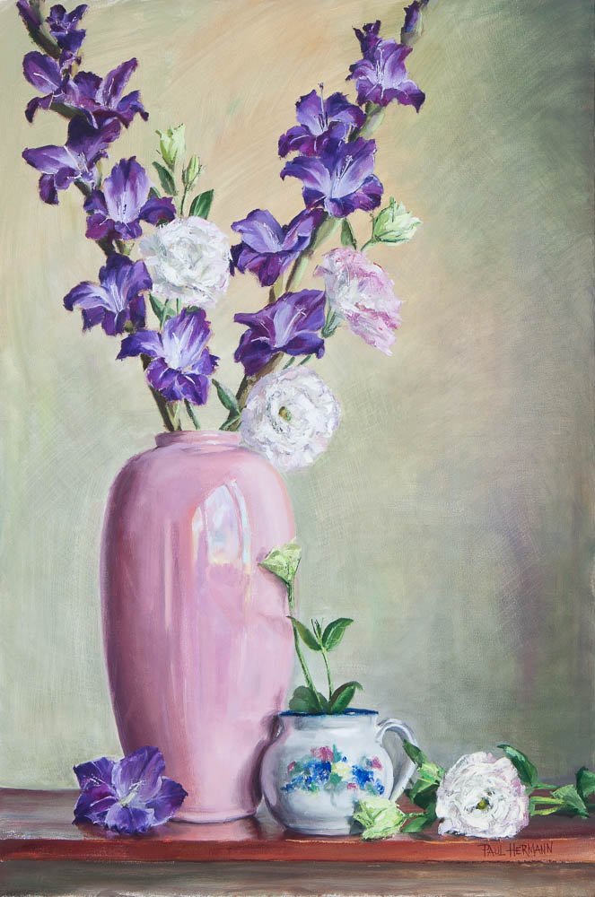 Pink Vase Arrangement. Oil on canvas, 24 x 16 inches, January 2013.