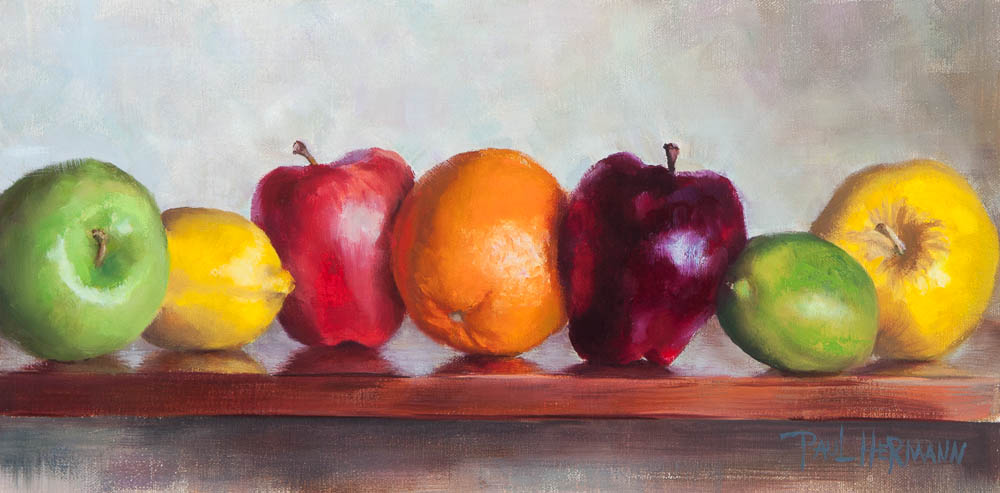 Fruit On a Shelf. Oil on canvas, 8 x 16 inches, February 2013