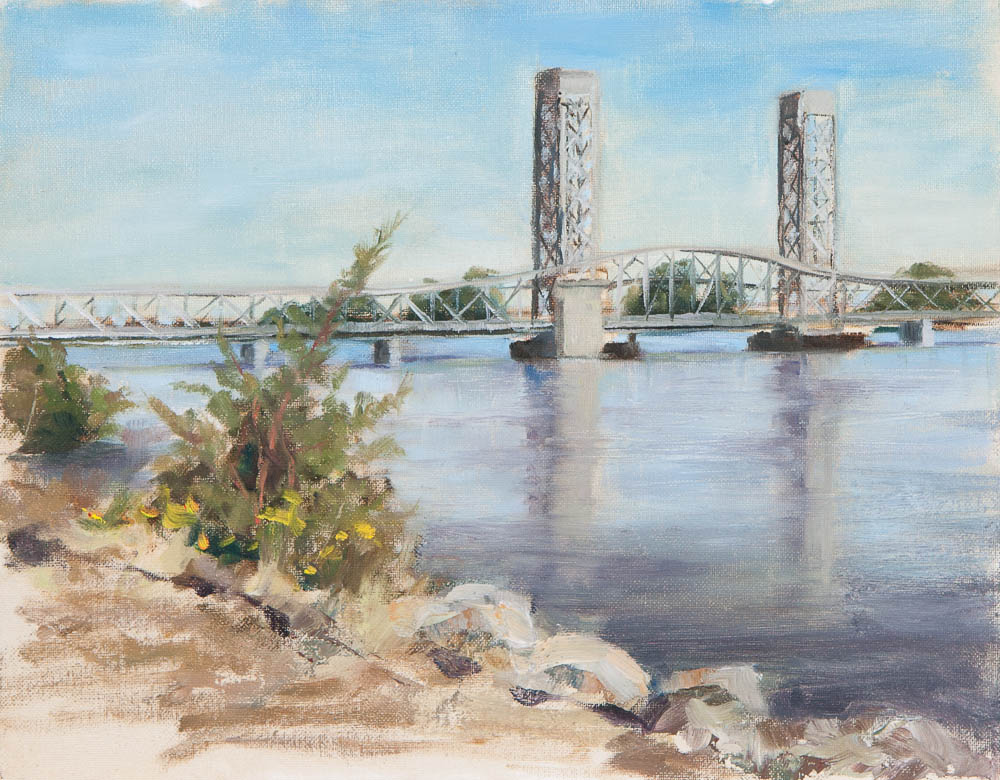 Rio Vista Bridge. Oil on canvas, 9 x 12 inches, October 2012.