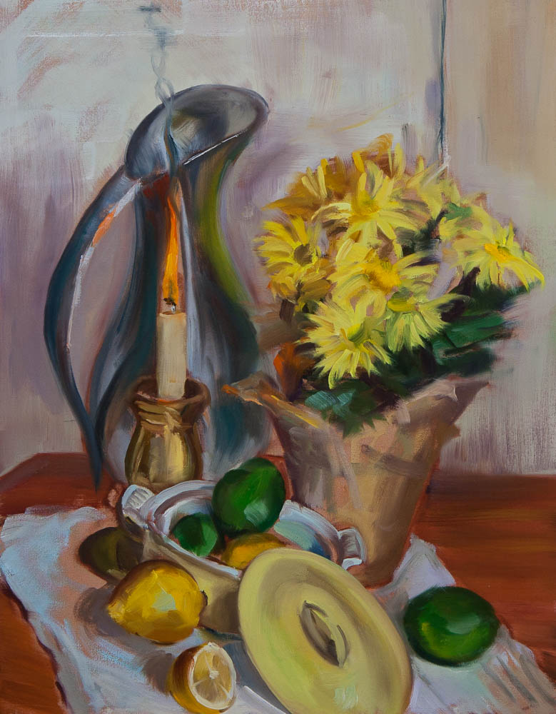Still Life with Burning Candle.  Oil on canvas, 18 x 14 inches, April 2013.