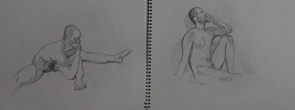 Male Figure Sketches.  Charcoal on paper, 11 x 14 inches, April 2013.