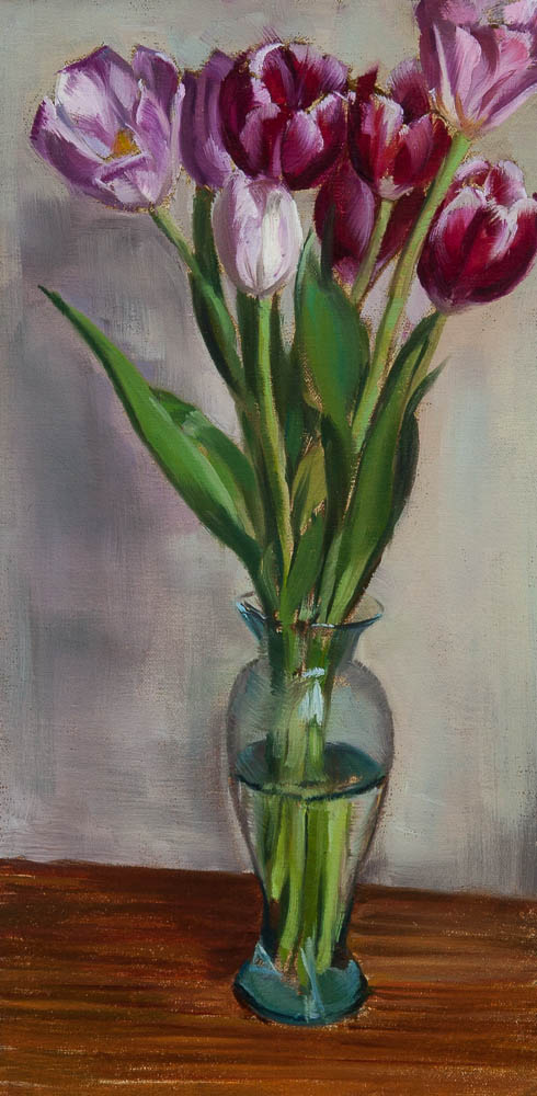 Red and Pink Tulips.  Oil on canvas, 16 x 8 inches, April 2013.