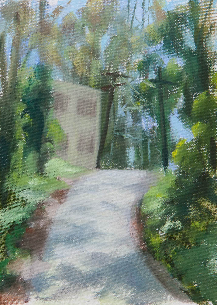 Presidio Radio Tower Station.  Oil on canvas, 7 x 5 inches, May 2013.
