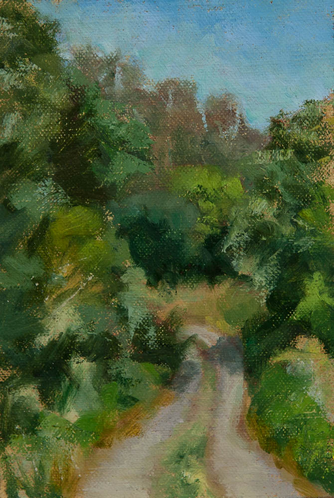 Sausalito Nature Road.  Oil on canvas, 7 x 5 inches, May 2013.