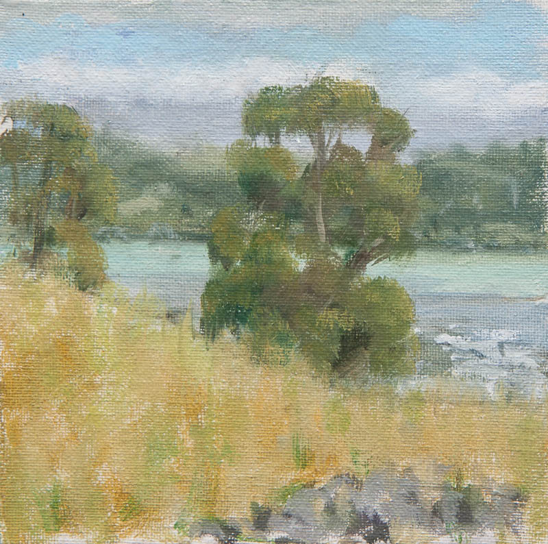 Sausalito Lunch Break 2.  Oil on cavas, 6 x 6 inches, June 2013.