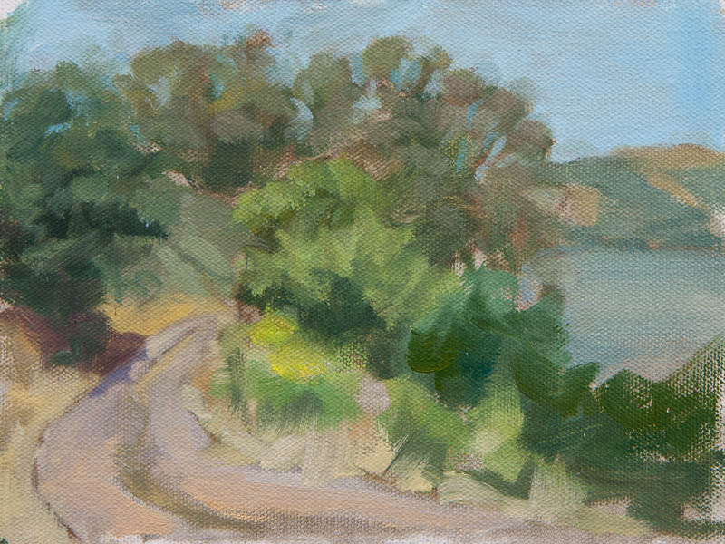 Sausalito Lunch Break 4.  Oil on canvas, 8 x 6 inches, June 2013.