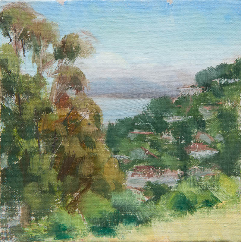 Sausalito Lunch Break Study.  Oil on canvas, 6 x 6 inches, June 2013.