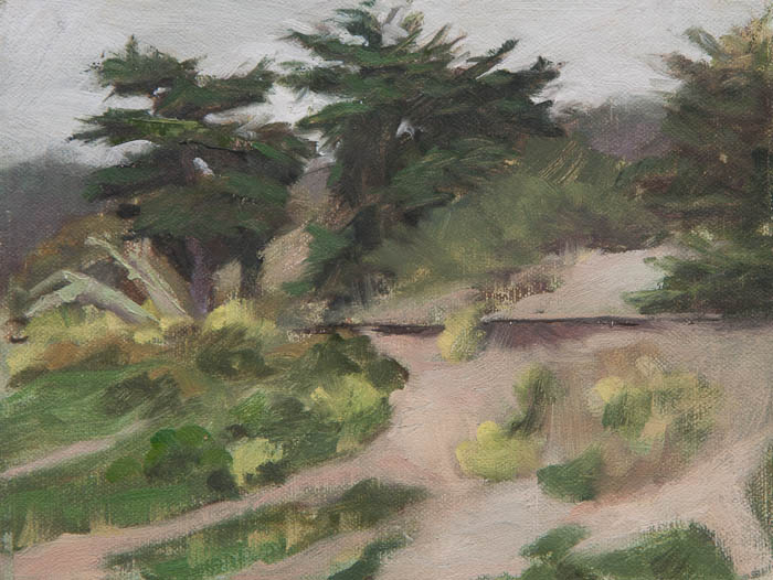 Fort Funston Park Plein Air Study. Oil on canvas, 6 x 8 inches, July 2013.