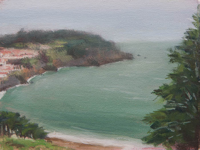 View of Lands End Plein Air Study. Oil on canvas, 6 x 8 inches, July 2013.