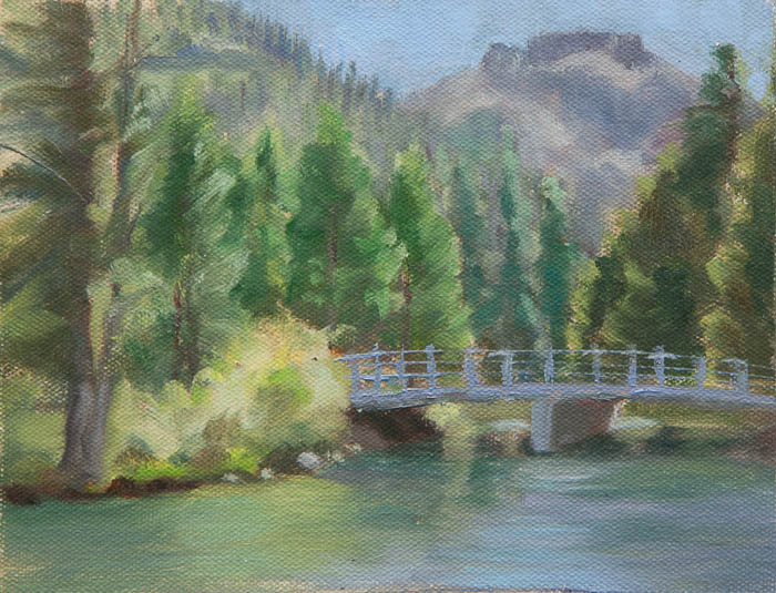 Donner Lake Bridge Plein Air Study. Oil on canvas, 6 x 8 inches, July 2013.