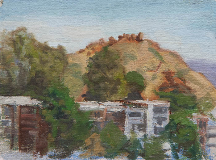 Randall Park Plein Air Study. Oil on canvas, 8 x 6 inches, July 2013.