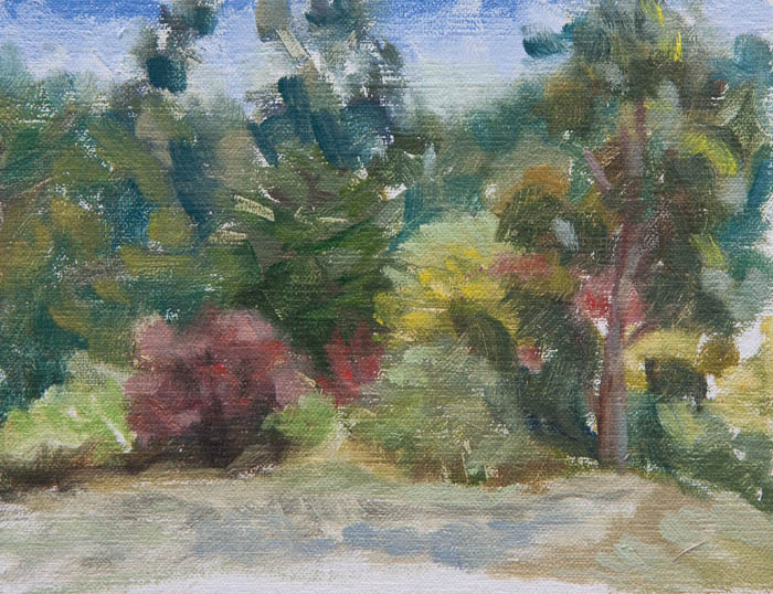 Red Trees in Forest Plein Air. Oil on canvas, 6 x 8 inches, July 2013.