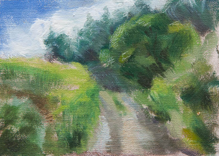 Fog Over the Hill Plein Air Study. Oil on canvas, 6 x 8 inches, July 3013.
