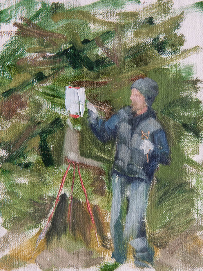 Greg Plein Air Painting. Oil on canvas, 8 x 6 inches, July 2013.