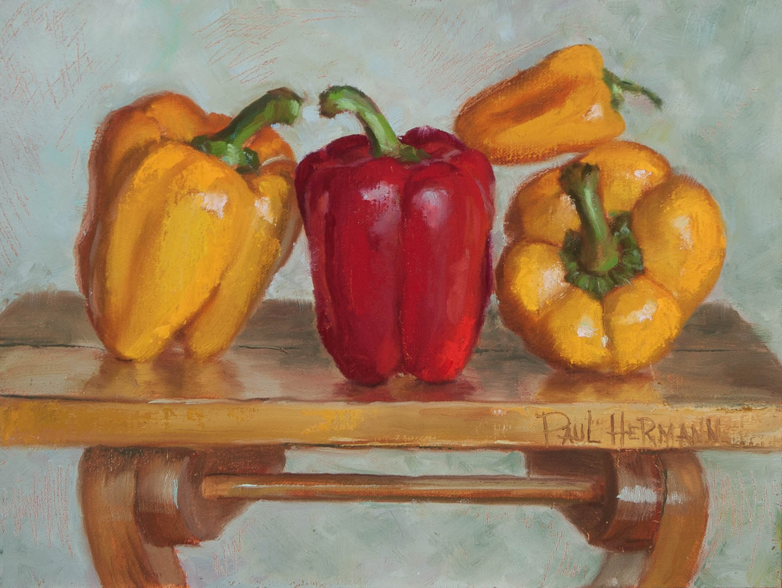 Family of Bell Peppers.  Oil on canvas, 9 x 12 inches, July 2013.