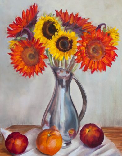 Sunflower and Nectarines. Oil on canvas, 20 x 16 inches, July 2013. By Paul Hermann.