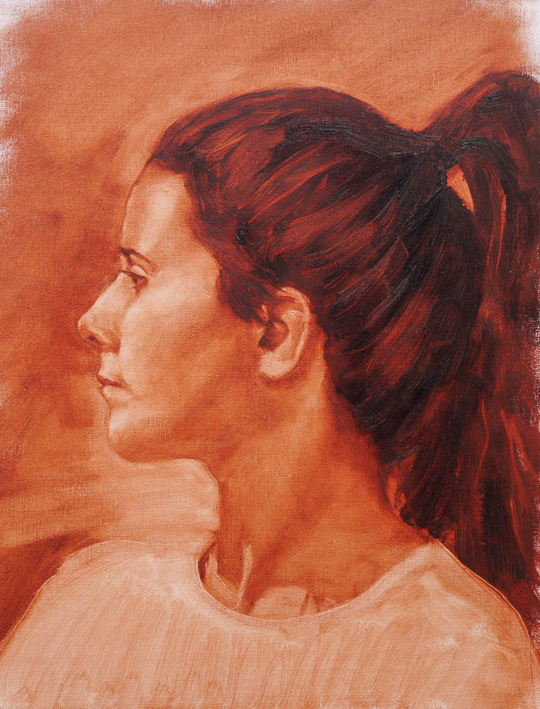 Female profile Study.  Oil on canvas, 16 x 12 inches, October 2013.