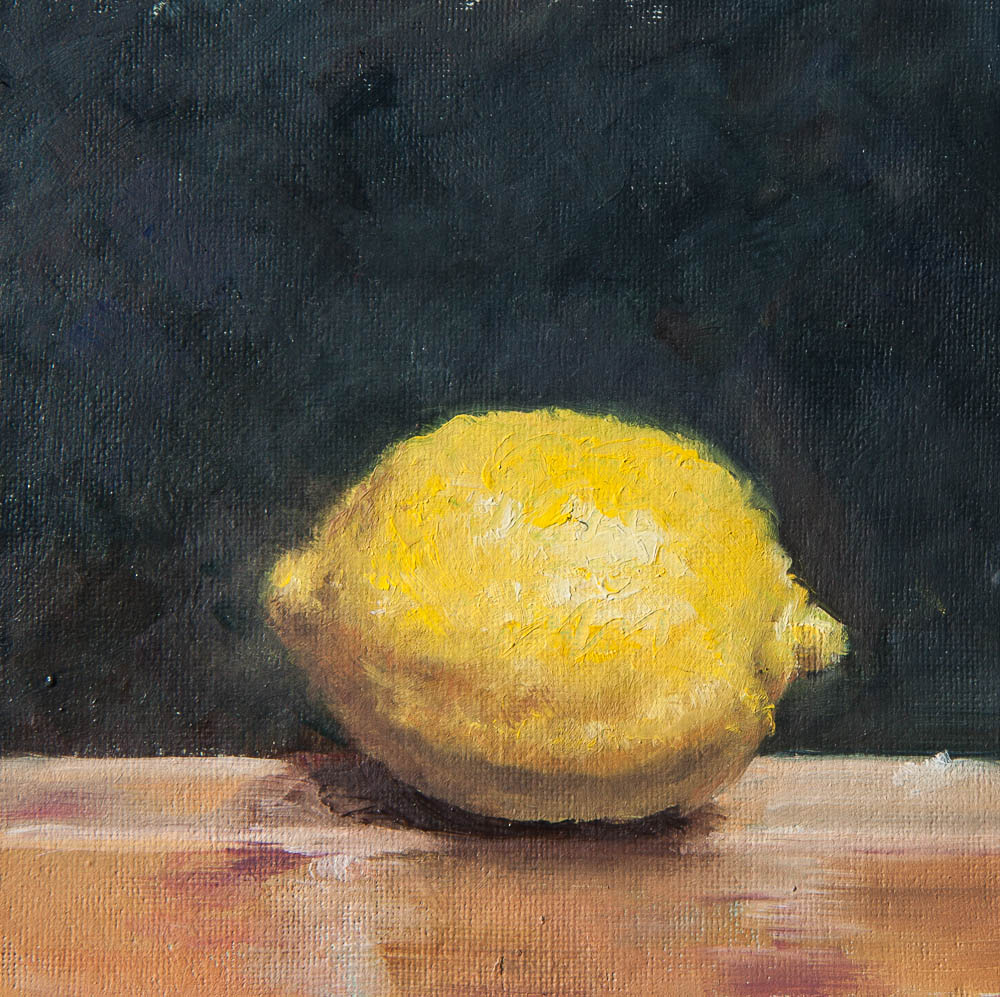 Lemon On Easel.  Oil on canvas, 5 x 5 inches, November 2013.