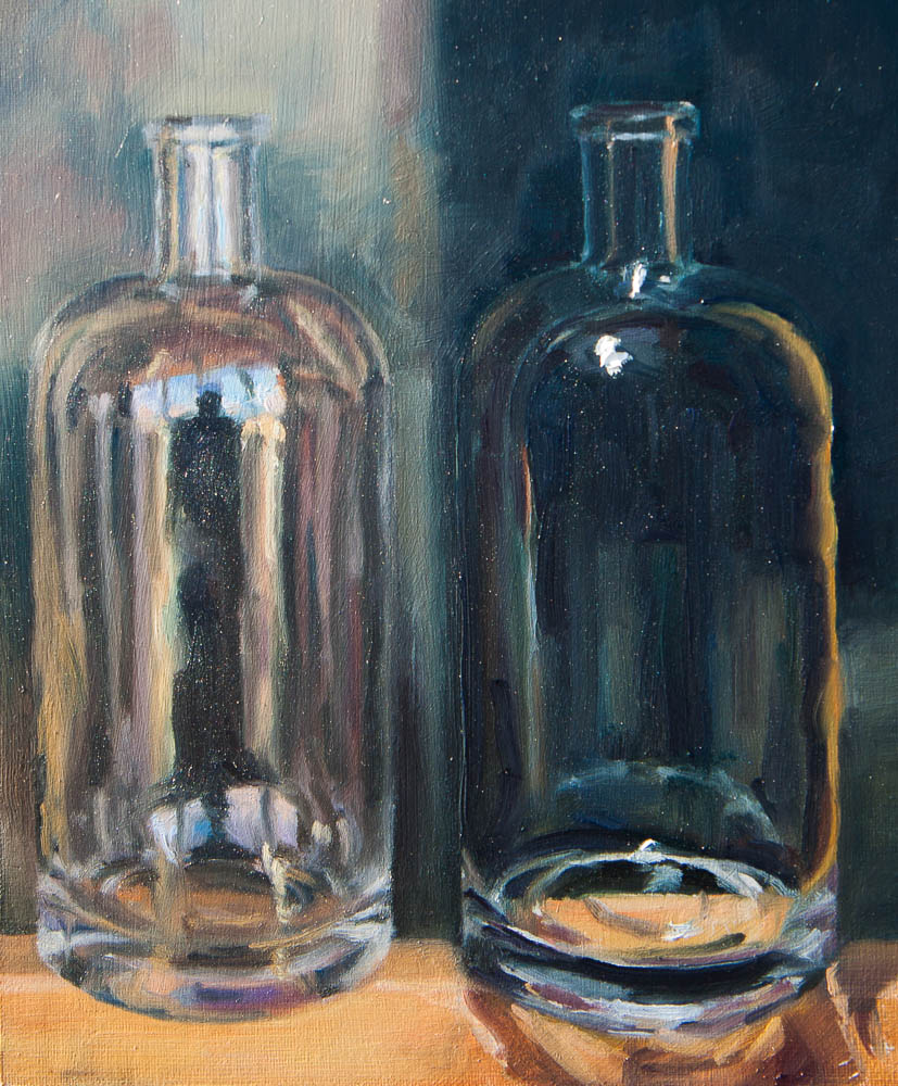 Absolute Bottle In the Day and Night.  Oil on canvas, 10.5 x 9 inches, November 2013.