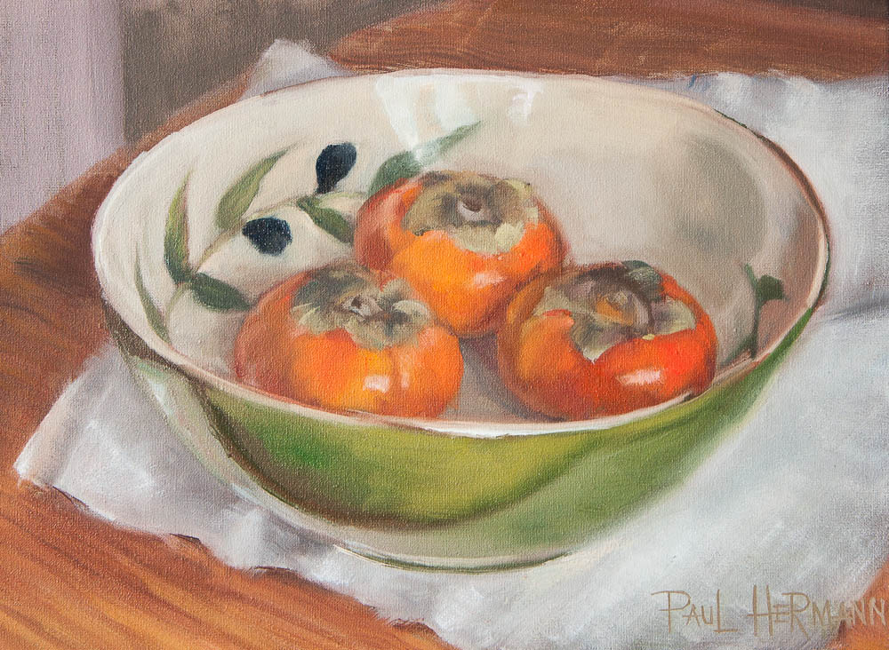 Three Persimons in Bowl. Oil on canvas, 9 x 12 inches, October 2013.