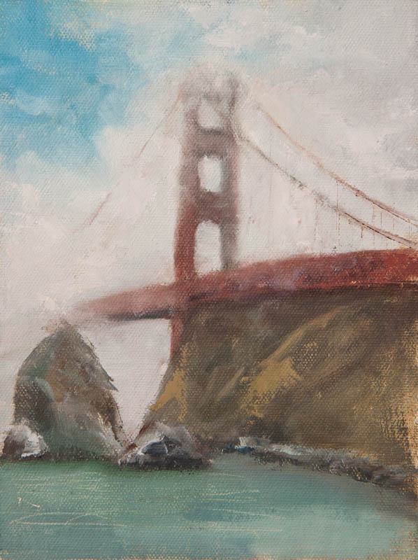 Golden Gate Bridge Study 01.  Oil on canvas, 6 x 8 inches, November 2013.