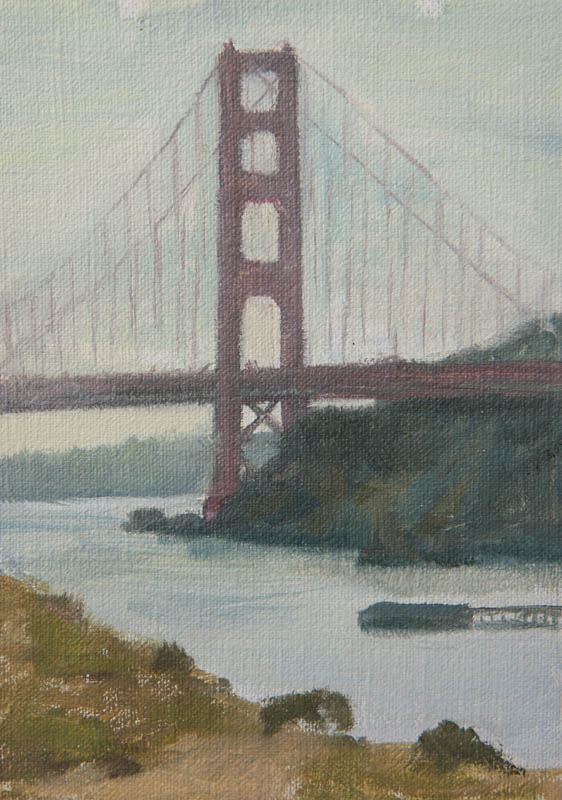 Golden Gate Bridge Study 02.  Oil on canvas, 7 x 5 inches, December 2013.