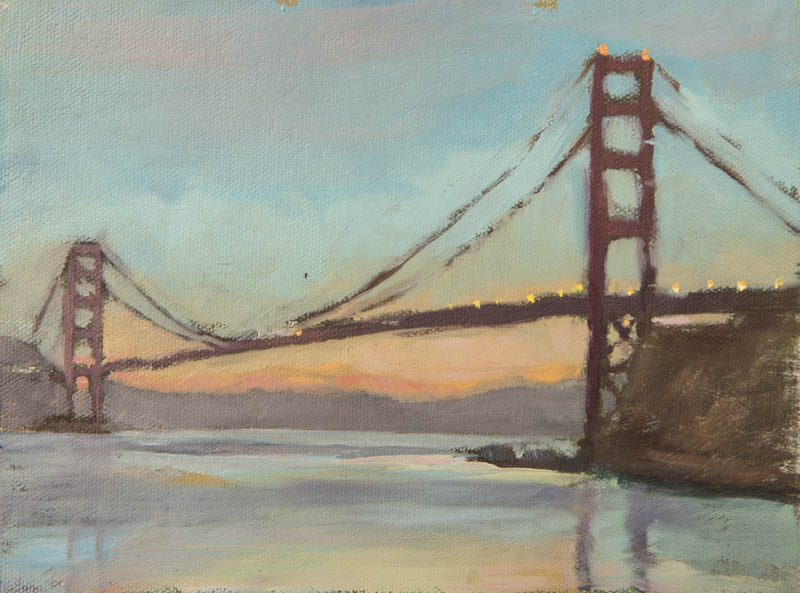 Golden Gate Bridge Study 03.  Oil on canvas, 6 x 8 inches, December 2013.