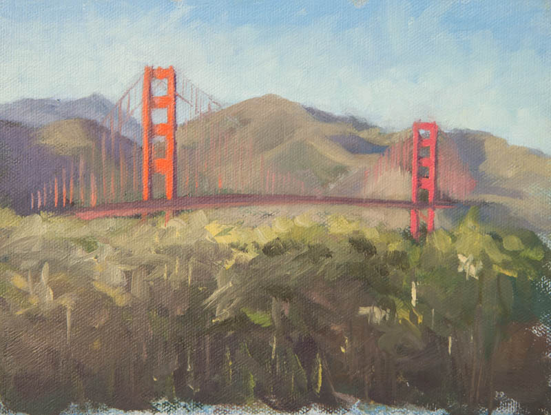 Golden Gate Bridge Study 04.  Oil on canvas, 6 x 8 inches, December 2013.