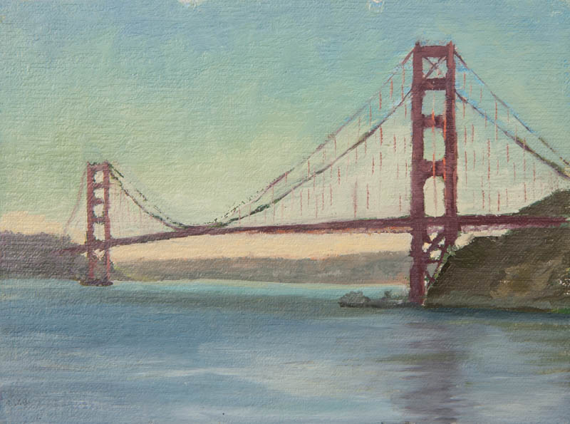 Golden Gate Bridge Study 05.  Oil on canvas, 6 x 8 inches, December 2013.