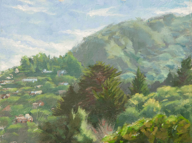 Sausalito Hills Study.  Oil on canvas, 6 x 8 inches, November 2013.