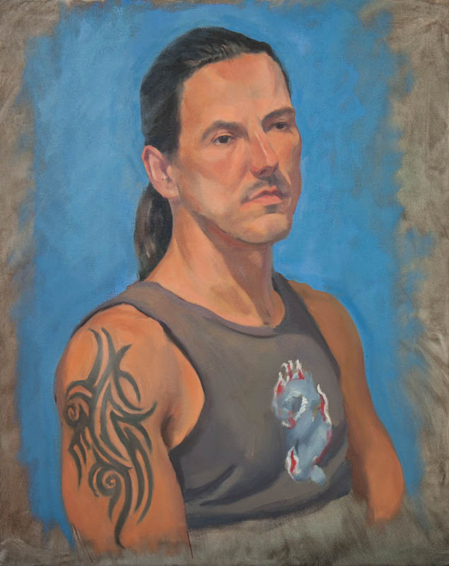 Miguel With Tattoo.  Oil on canvas, 20 x 16 inches, December 2013.