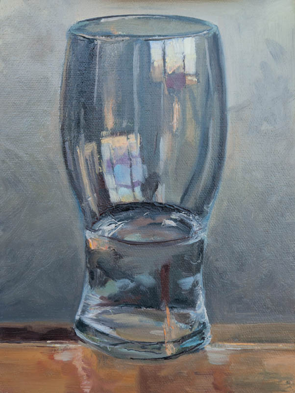 Glass of Water on Easel. Oil on canvas, 8 x 6 inches, January 2014.