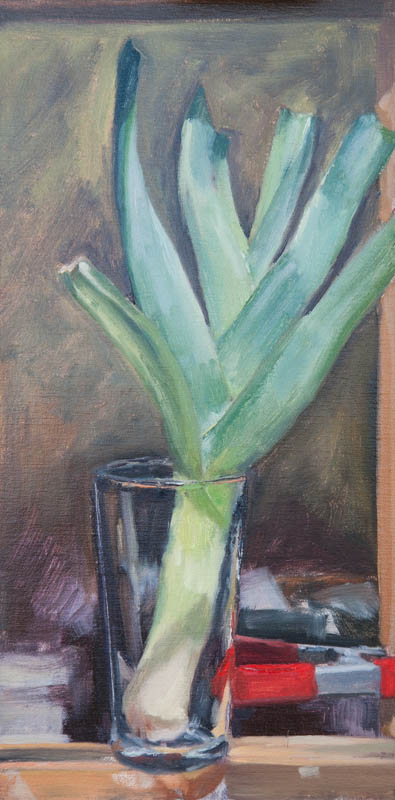 Leeks in Glass on Easel. Oil on canvas, 16 x 8 inches, January 2014.