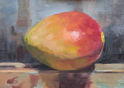 Mango On Easel. Oil on canvas, 6 x 8 inches. By Paul Hermann.