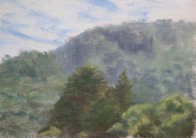 Sausalito Hills Study 2.  Oil on canvas, 5 x 7 inches, January 2014.