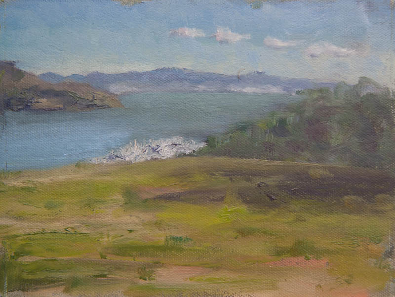 Sausalito Hills View of Bay Study. Oil on canvas, 6 x 8 inches, January 2014.