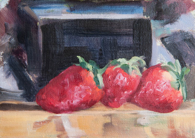 Three Strawberries On Easel. Oil on canvas, 6 x 8 inches, January 2014.