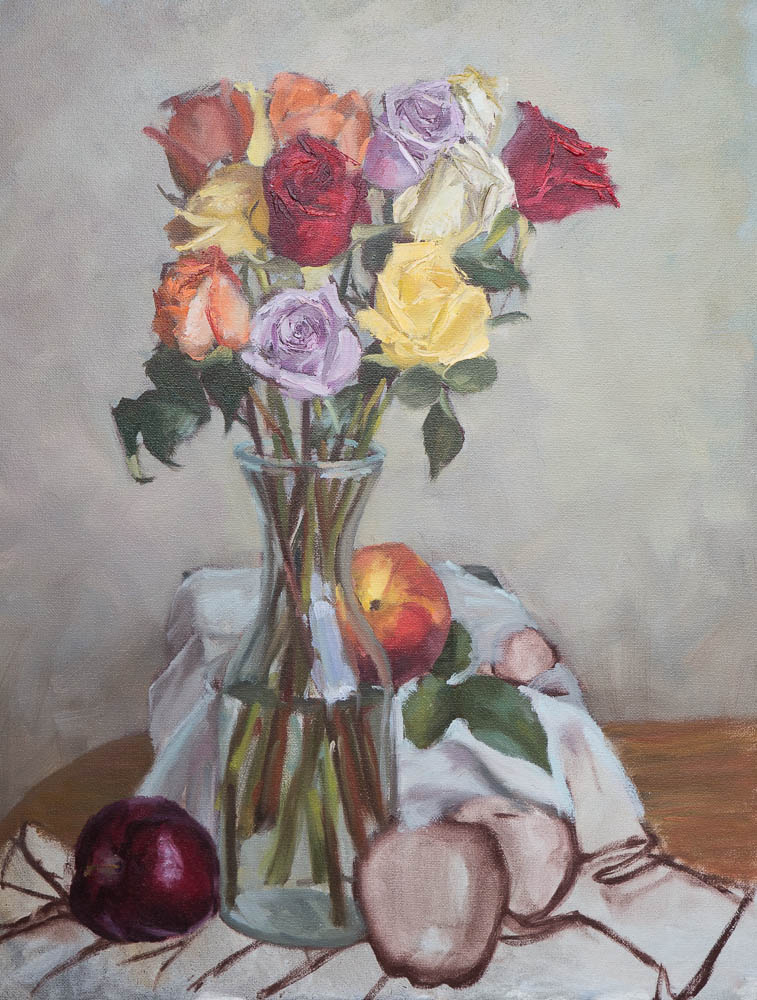 Roses In Vase Study .  18 x 14 inches, oil on canvas, March 2014.