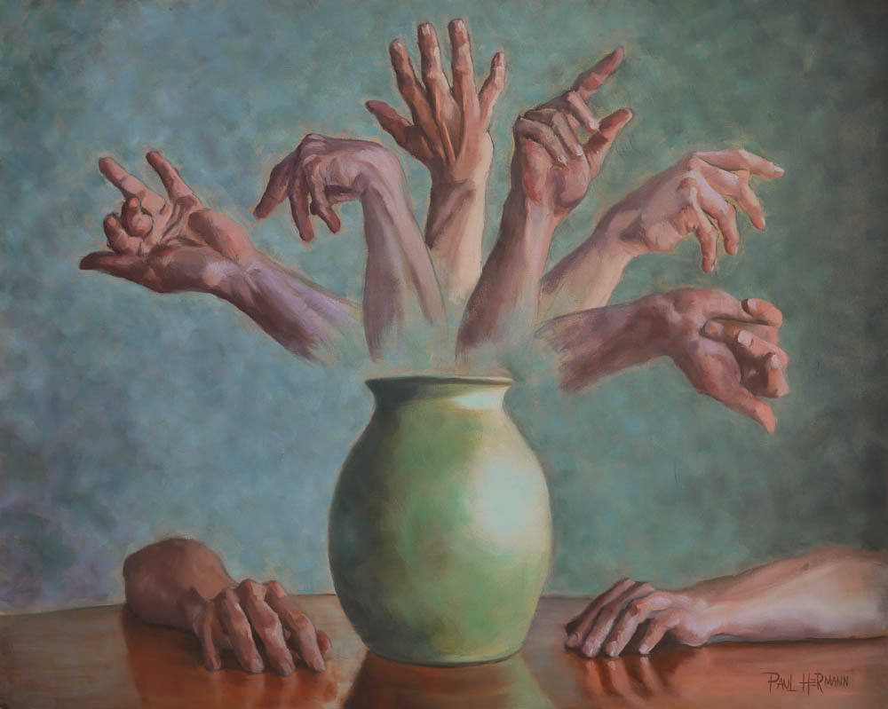 Bouquet of Hands.  Oil on canvas, 24 x 30 inches, April 2014.