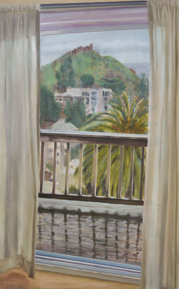 View Between Curtains.  Oil on canvas, 48 x 30 inches, April 2014.