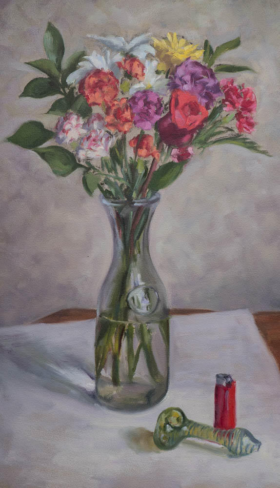 Flowers Redux with Vice.  Oil on canvas, 20 x 12 inches, July 2014.