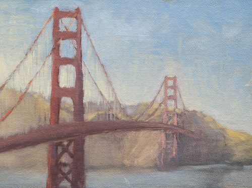 Golden Gate Sunset.  Oil on canvas, 6 x 8 inches, July 2014.