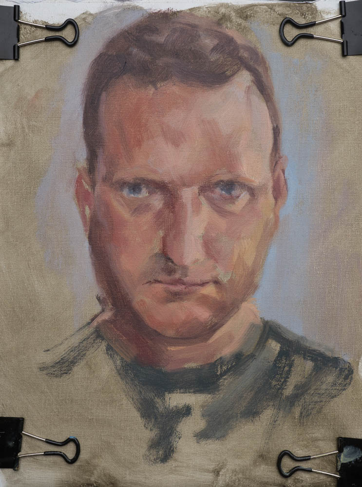 Self Portrait Study 2014.  Oil on canvas, 12 x 9 inches, July 2014.