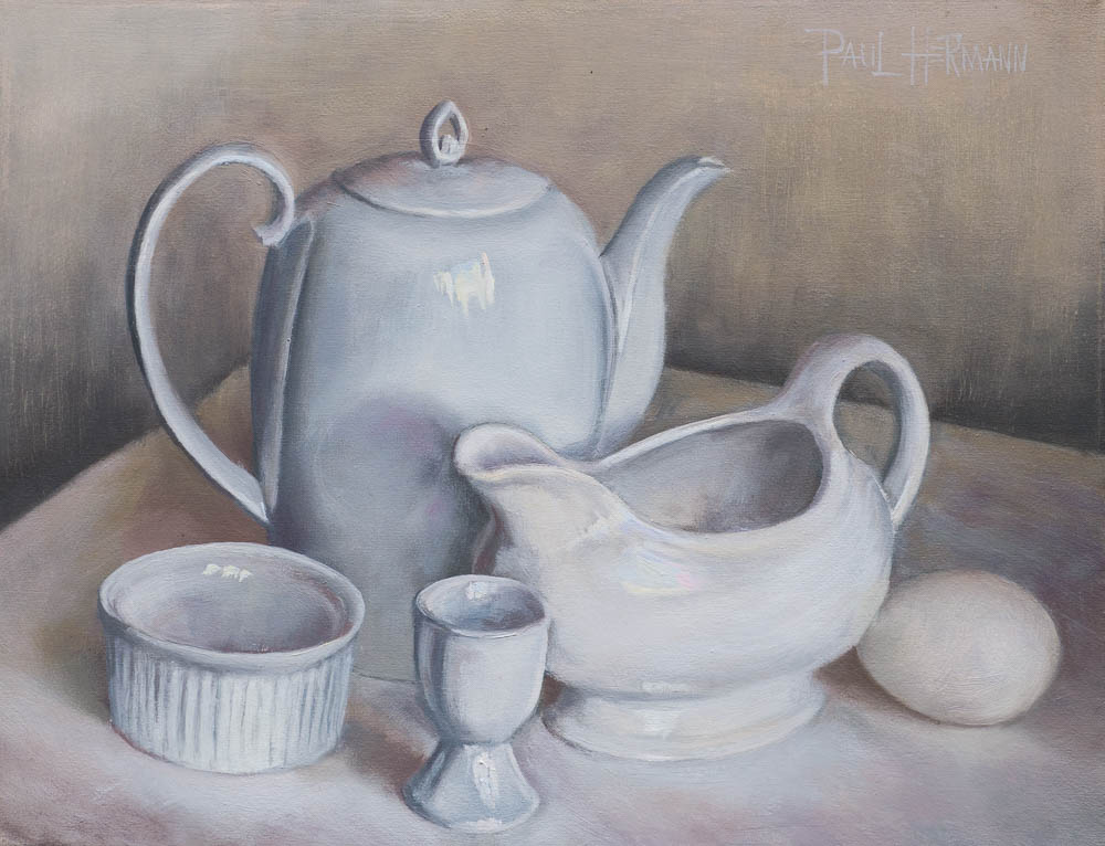 Study in White Porcelain.  Oil on canvas, 14 x 11 inches, June 2014.