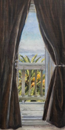 View Through Curtains.  Oil on canvas. 16 x 8 inches, September 2014.