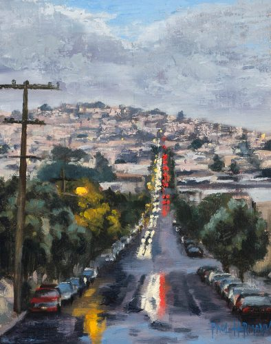 24th Street After a Storm.  Oil on canvas, 10 x 8 inches, December 2014.