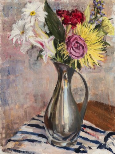 Flowers in Pewter Vase.  Oil on canvas, 16 x 12 inches, December 2014.