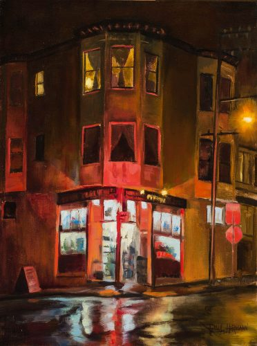 Liquor Store at 17th and Eureka.  Oil on canvas, 16 x 12 inches, December 2014.