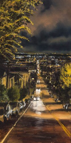 Looking Down 17th Street.   Oil on canvas, 16 x 8 inches, November 2014.
