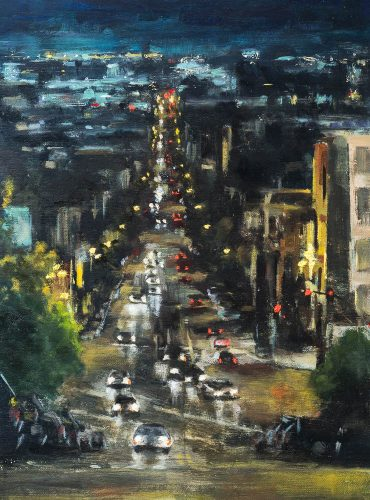 Down 16th Street (from Castro). Oil on canvas board, 12 x 9 inches, 2015.